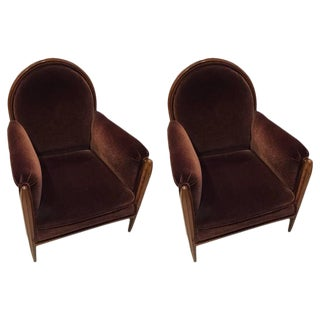 French Art Deco Club Chairs Carved Front Legs - A Pair