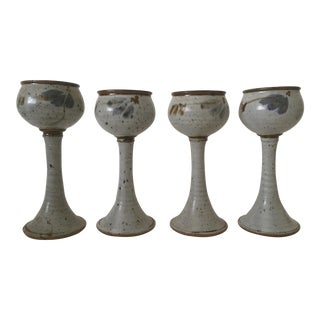 Vintage Studio Pottery Stoneware Goblets - Set of 4