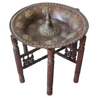 Antique Tibetan Copper & Brass Shield Table