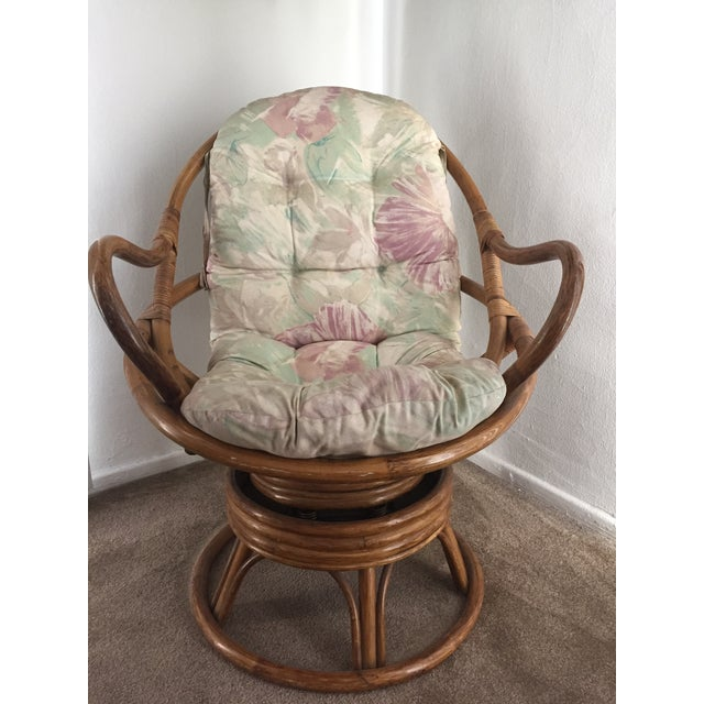 Vintage Rattan Swivel Chair - Image 2 of 10