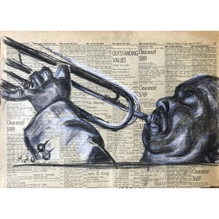 1945 Charcoal on Newspaper Portrait of a Trumpet Player Vintage Drawing