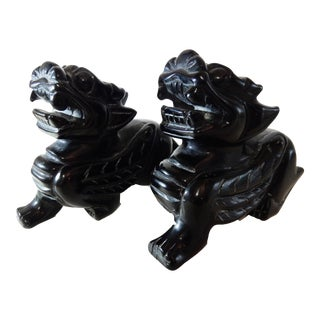 Obsidian Stone Fortune Foo Dogs - A Pair