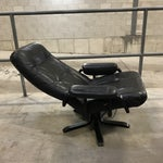 Image of Mid-Century Modern Swedish Black Leather Recliner