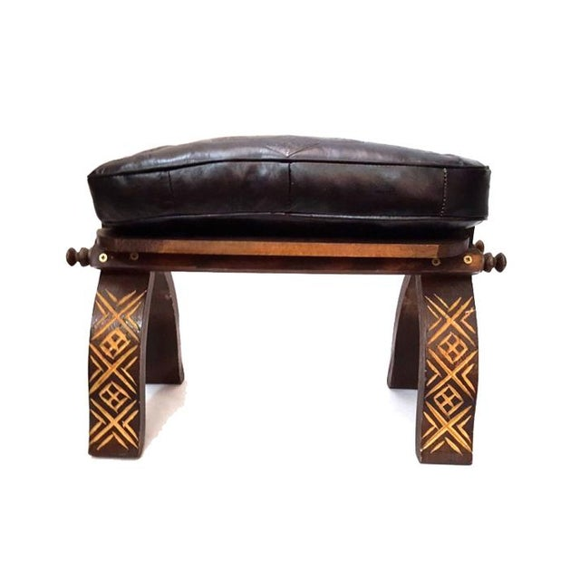Black moroccan handmade leather bench chairish Moroccan bench