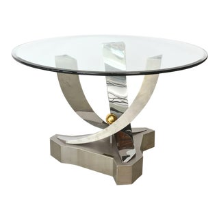 Greg Sheres Polished Stainless Steel and 24-Karat Gold Plated Brass Center Table