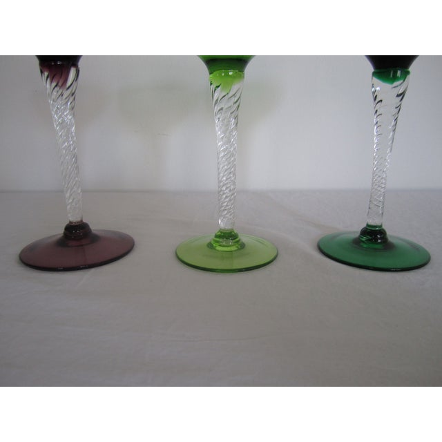 Vintage Blown Glass Champagne Glasses - Set of 3 - Image 5 of 8