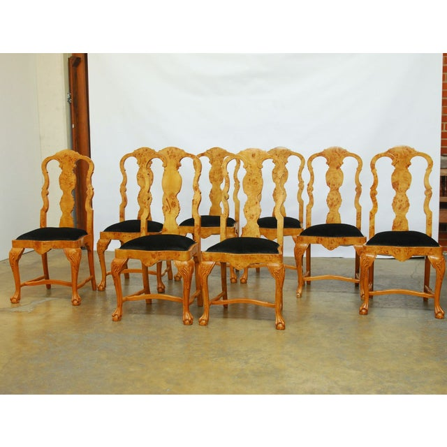 Burl Wood Queen Anne Dining Chairs - Set of 8 - Image 3 of 10