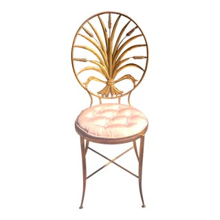 Italian Gold Gilt Hollywood Regency Occasional Chair Attributed to Coco Chanel