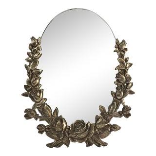Vintage Brass Floral Mirror