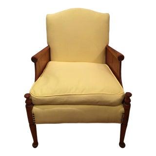 Mid-Century Walnut & Yellow Linen Chair