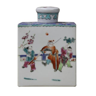 Chinese Colorful Porcelain Tea Jar