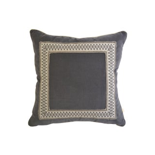 "Custom Gray Velvet Geometric Pillow - 24""x24"""