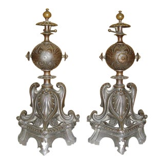 1890s French Bronze Art Nouveau Andirons - A Pair