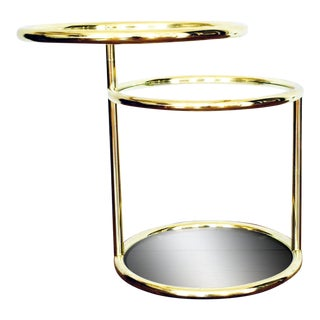 Milo Baughman Style Brass and Glass Side Table