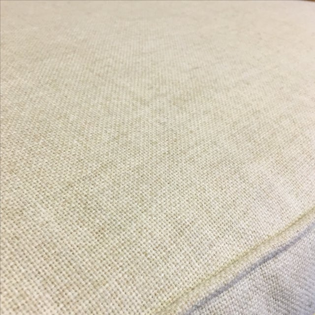 Linen Upholstered Oak and Woven Chair - Image 6 of 7