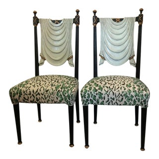 Hollywood Regency Trompe-L'œil Side Chairs - A Pair