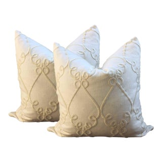 Ivory Linen Embroidered Pillows - a Pair