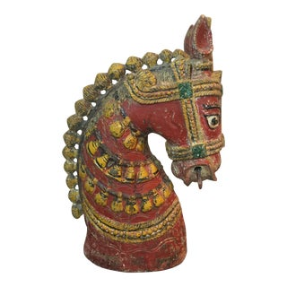 Indian Painted Wood Horse Head