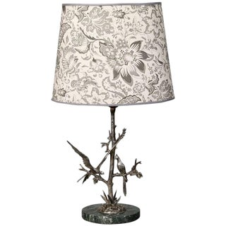 French Silver Table Lamp with Two Sculpted Birds