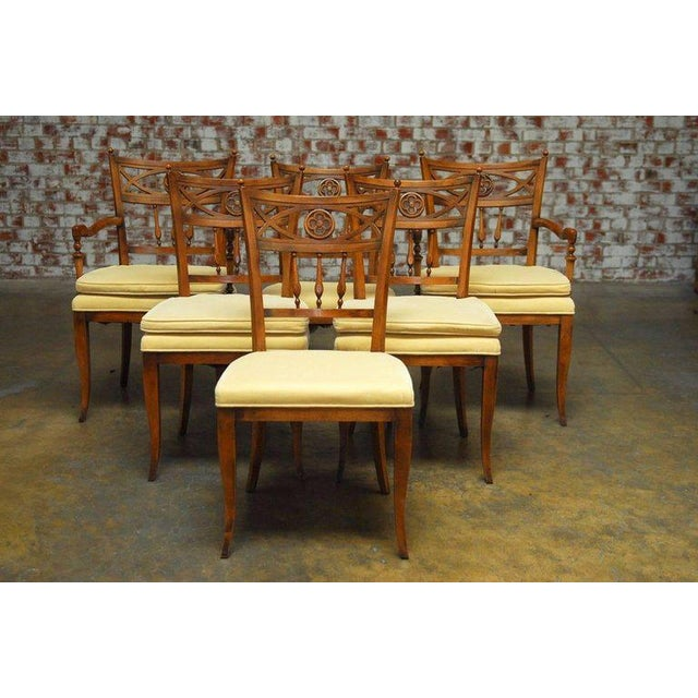 Set of six french provincial farmhouse dining chairs for French farmhouse dining chairs