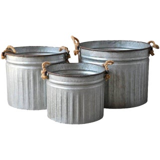 Set of Three Zinc Tub Planters