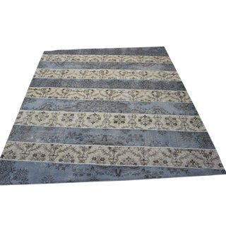 Turkish Patchwork Rug, Gray & Cream - 8′5″ × 10′6