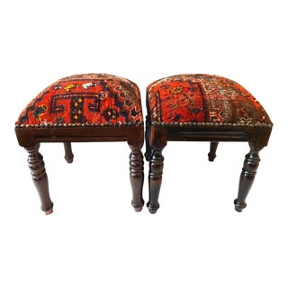 Antique Tribal Qashquai Rug Stools - A Pair