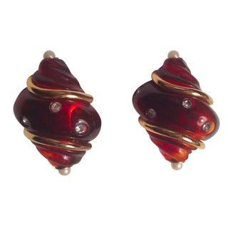 Kenneth Jay Lane Tortoise & Rhinestone Earrings