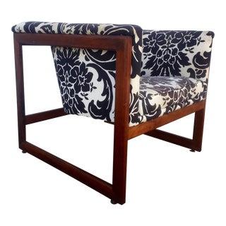 Milo Baughman Style Walnut Cube Lounge Chair
