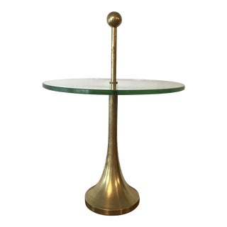 Mid-Century Diminutive Brass & Glass Side Table