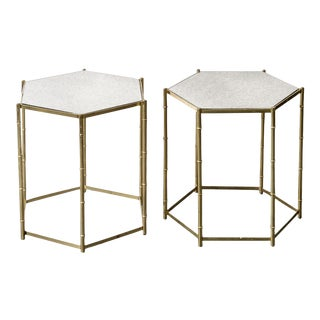 Italian Faux Bamboo Brass & Mirror Side Tables - A Pair