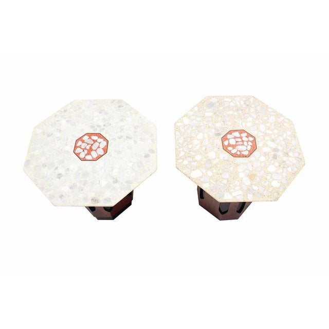 Pair of Octagon Shape Travertine Top End or Side Table on Walnut Bases - Image 2 of 7