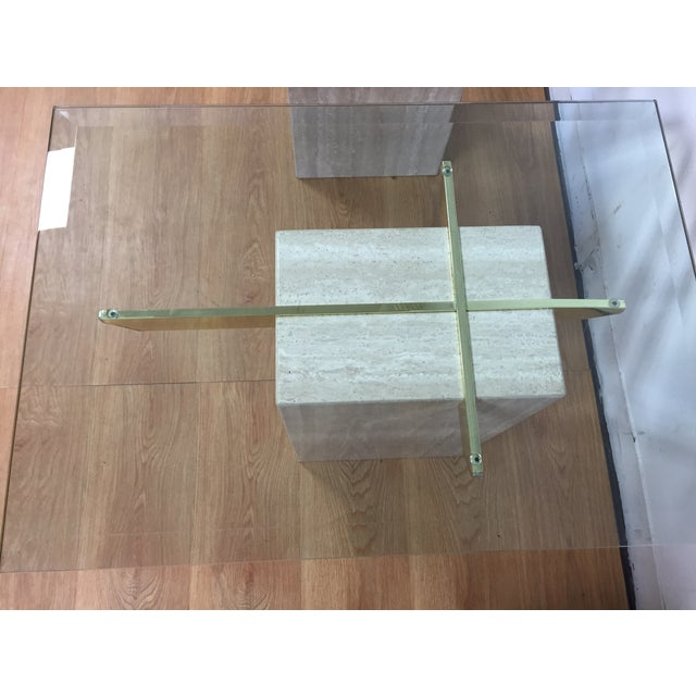 Travertine Brass and Glass End Tables - A Pair - Image 4 of 9