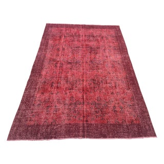"Red Turkish Overdyed Rug - 6'8"" X 10'3"""