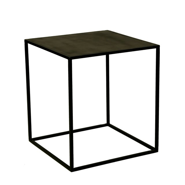 Cube Powder Coated Metal Side Table - Image 1 of 2