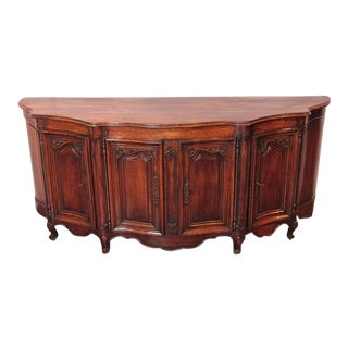 Country French Louis XV Walnut Serpentine Buffet