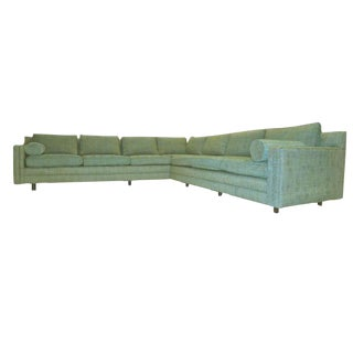 Harvey Probber Two-Piece Tuxedo Sectional Textured Upholstery