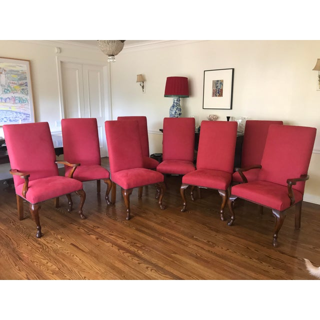 Image of Ralph Lauren Red Fabric Dining Chairs - Set of 8