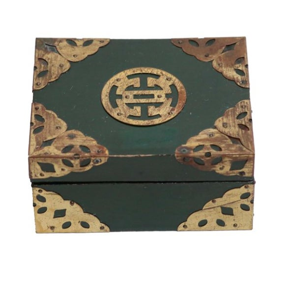 Image of Chinese Green Lacquer & Brass Box