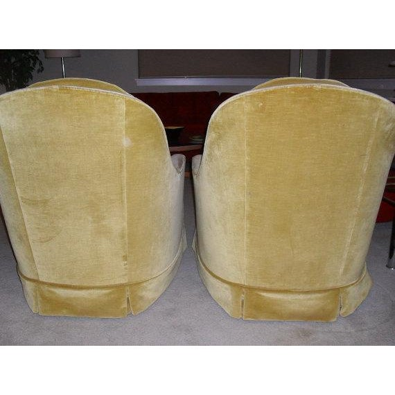 Hollywood Regency Gold Velvet Arm Chairs - Pair - Image 4 of 6