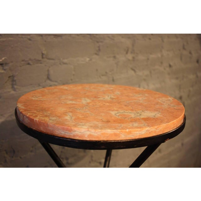 French Marble-Top Table with Iron Base - Image 4 of 7