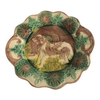 Majolica Dog Plate