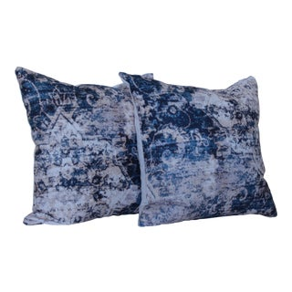 Asian Blue Distressed Print Pillow Covers - A Pair