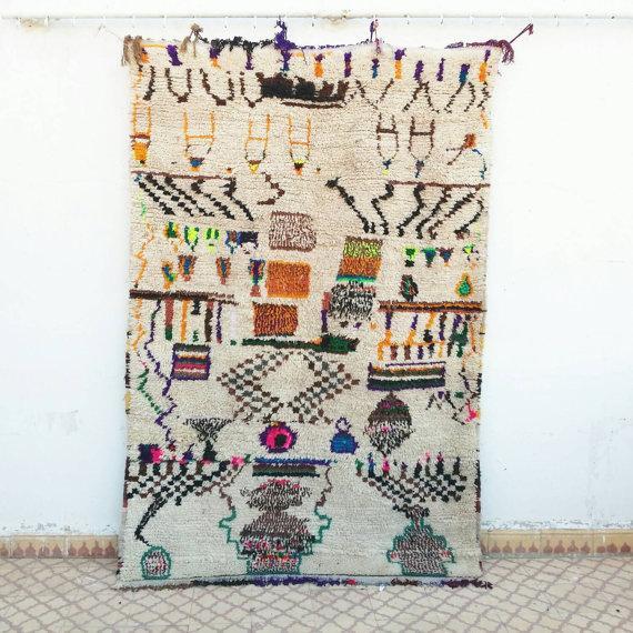 Vintage Azilal Wool Moroccan Rug - 5″ × 7″ - Image 4 of 4