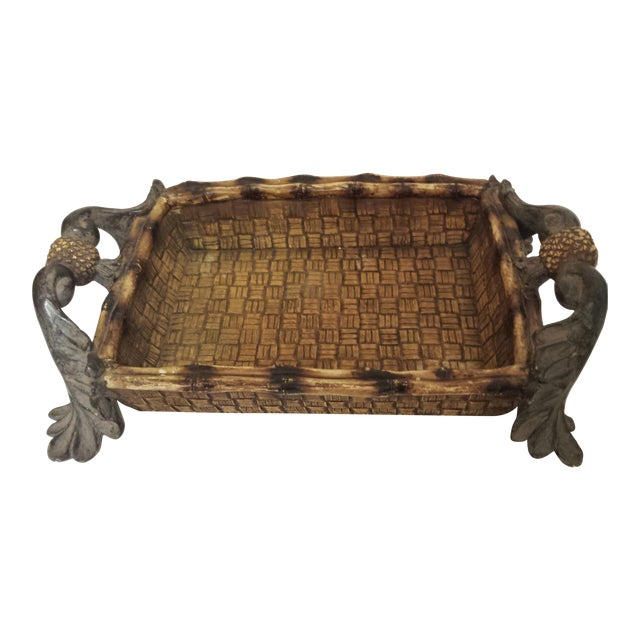 Mid-Century Modern Faux Rattan & Pineapple Basket/Tray - Image 1 of 10