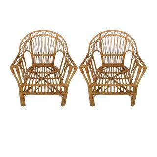 Bamboo Rattan Armchairs - Pair
