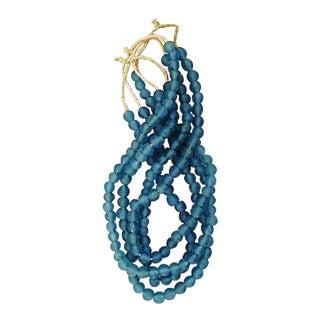 Smokey Steel Blue Glass Bead Strands - Set of 4