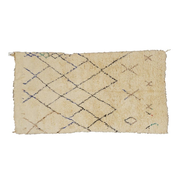 Image of Vintage Moroccan Beni Ourain Rug - 5′6″ × 8′1″
