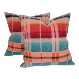 Vintage Pastel Horse Blanket Pillows - A Pair