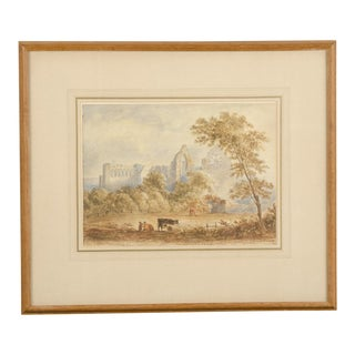 A signed watercolour of an idyllic church ruin with cattle by J. Varley from England c.1890.